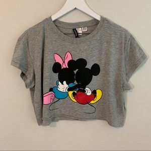 Disney Divided Minnie and Mickey Mouse Crop Top